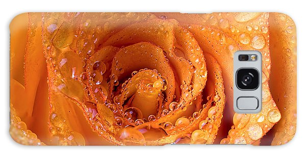 Top View Of An Orange Rose With Droplets Galaxy Case