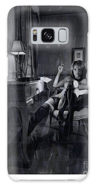 Topless Girl Posing At Desk In Hotel Room Galaxy Case