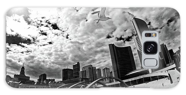 Toronto City Hall Square With Gull Galaxy Case by Charline Xia
