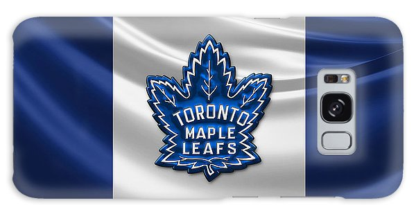 Sports Galaxy Case - Toronto Maple Leafs - 3d Badge Over Flag by Serge Averbukh