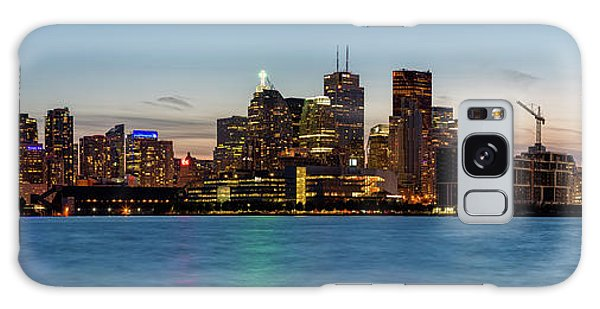 Galaxy Case featuring the photograph Toronto Skyline At Dusk Panoramic by Adam Romanowicz