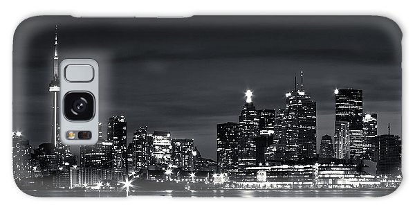 Galaxy Case featuring the photograph Toronto Skyline At Night From Polson St No 2 Black And White Ver by Brian Carson