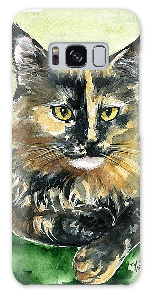 Tortoiseshell Maine Coon Portrait Galaxy Case
