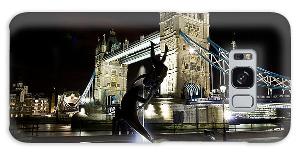 Tower Bridge With Girl And Dolphin Statue Galaxy Case