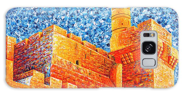 Galaxy Case featuring the painting Tower Of David At Night Jerusalem Original Palette Knife Painting by Georgeta Blanaru