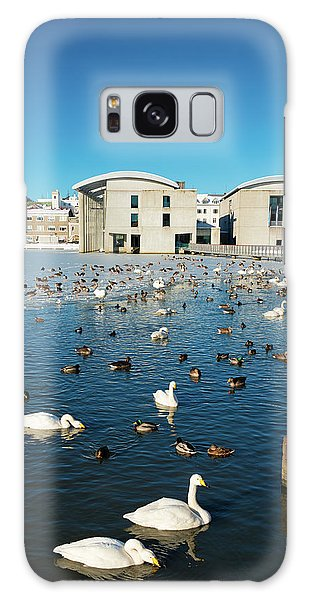 Town Hall And Swans In Reykjavik Iceland Galaxy Case by Matthias Hauser