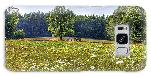Tractor In Field With Flowers Galaxy Case