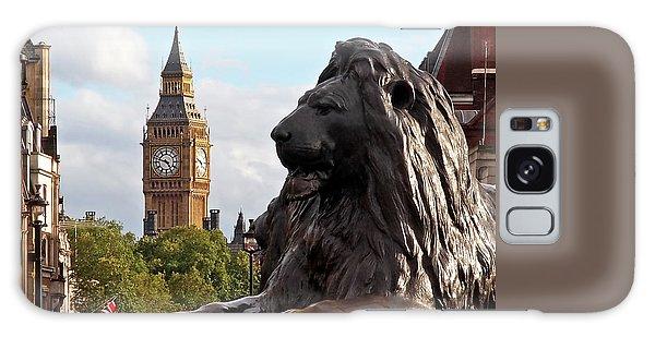 Trafalgar Square Lion With Big Ben Galaxy Case by Gill Billington