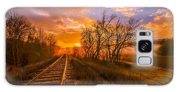 Train Track Sunrise Galaxy Case