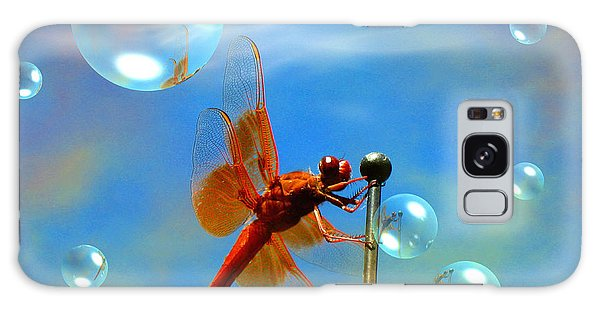 Transparent Red Dragonfly Galaxy Case by Joyce Dickens