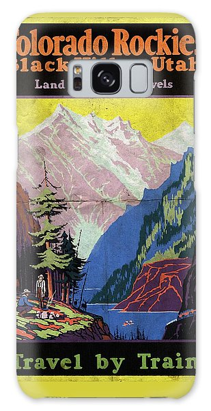 Travel By Train To Colorado Rockies - Vintage Poster Folded Galaxy Case