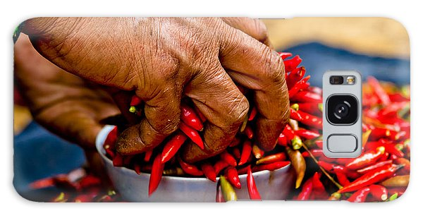 Woman Holding Red Chillies, Can Cau Market, Sapa,vietnam Galaxy Case