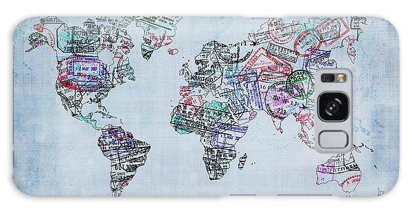 Traveler World Map Blue 8x10 Galaxy Case