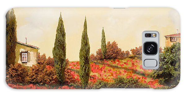 Outdoors Galaxy Case - Tre Case Tra I Papaveri by Guido Borelli