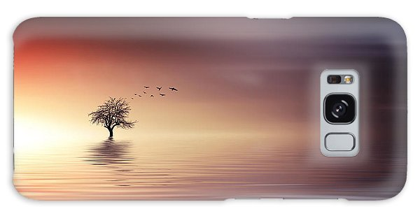 Tree And Birds On Lake Sunset Galaxy Case