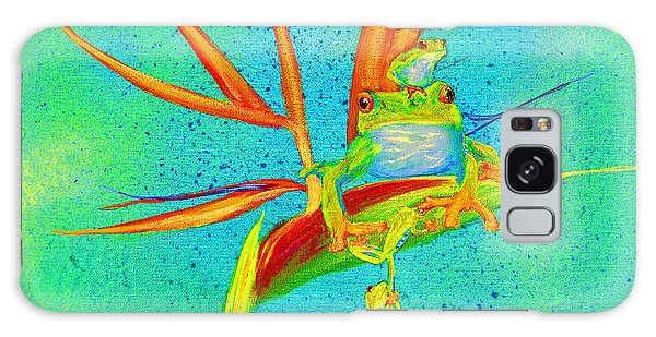 Tree Frog On Birds Of Paradise Square Galaxy Case