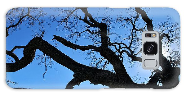 Tree In Rural Hills - Silhouette View Galaxy Case
