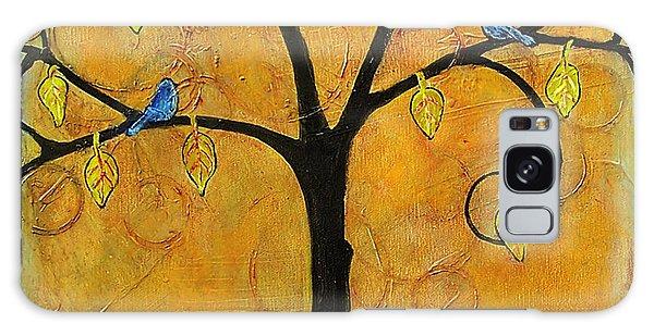 Bluebird Galaxy Case - Tree Of Life In Yellow by Blenda Studio