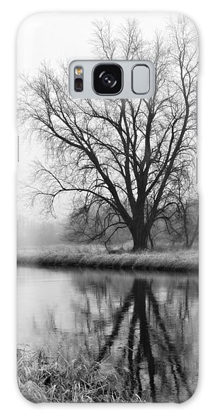 Tree Reflection In The Fox River On A Foggy Day Galaxy Case