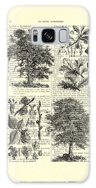Pine Branch Galaxy Case - Trees Black And White Illustration by Madame Memento