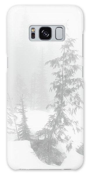 Trees In Fog Monochrome Galaxy Case