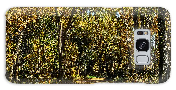 Trees Over A Path Through The Woods In Fall Color Galaxy Case