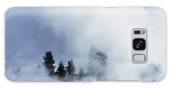 Trees Through Firehole River Mist Galaxy Case