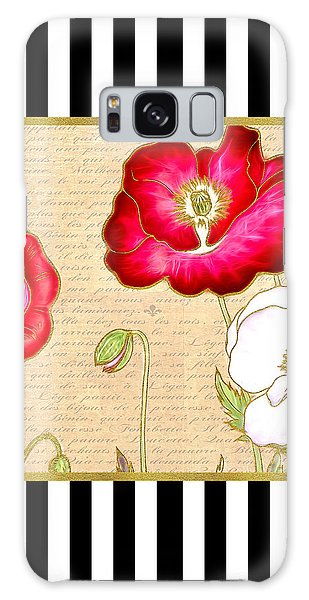 Trendy Red Poppy Floral Black And White Stripes Galaxy Case