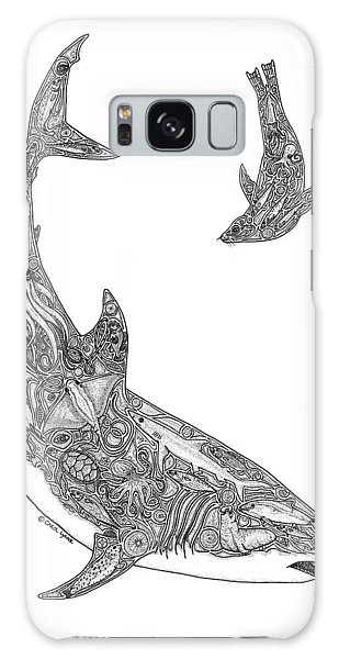 Sharks Galaxy Case - Tribal Great White And Sea Lion by Carol Lynne