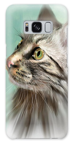 Trixie The Maine Coon Cat Galaxy Case by Angela Murdock