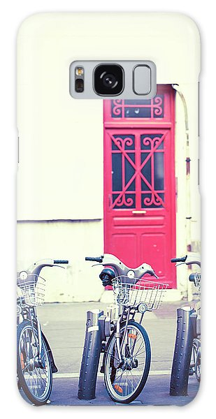 Trois - Three Bicycles In Paris Galaxy Case by Melanie Alexandra Price