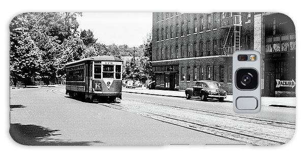 Galaxy Case featuring the photograph Trolley With Packard Building  by Cole Thompson