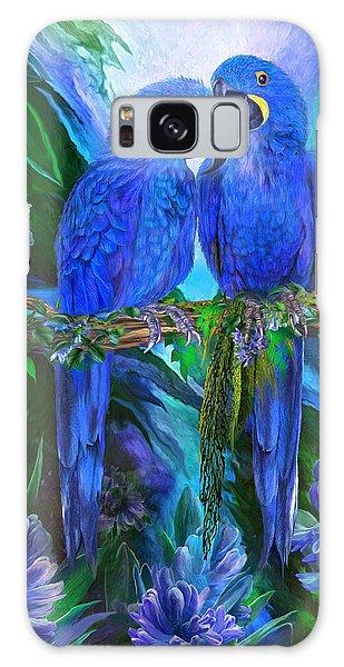 Galaxy Case featuring the mixed media Tropic Spirits - Hyacinth Macaws by Carol Cavalaris