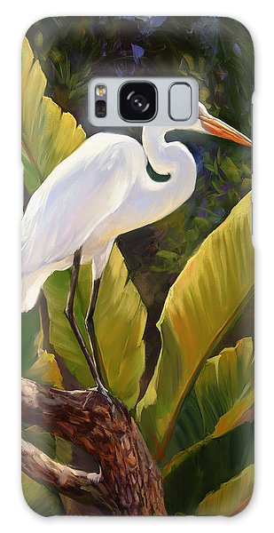 Herons Galaxy Case - Tropical Heron by Laurie Snow Hein