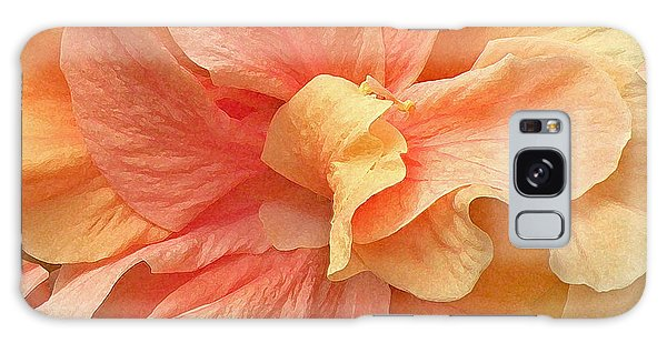 Tropical Peach Hibiscus Flower Galaxy Case
