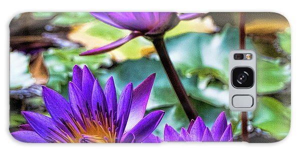 Tropical Water Lilies Galaxy Case by Karen Lewis