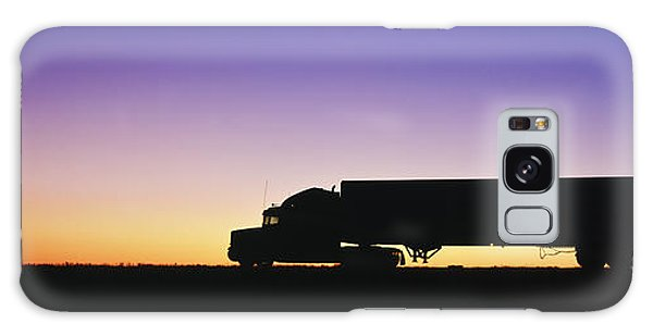 Truck Parked On Freeway At Sunrise Galaxy Case