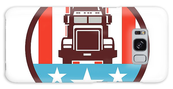 Semis Galaxy Case - Truck Usa Flag Circle Retro by Aloysius Patrimonio