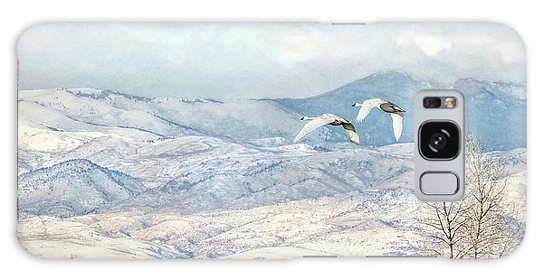 Galaxy Case featuring the photograph Trumpeter Swans Winter Flight by Jennie Marie Schell