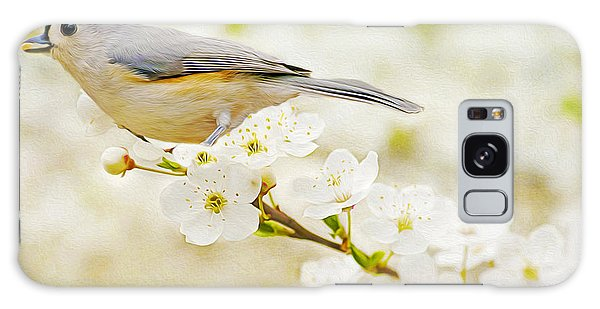 Titmouse Galaxy Case - Tufted Titmouse With Seed by Laura D Young