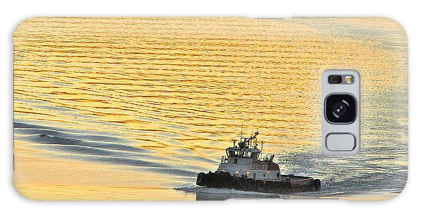 Tugboat At Sunset Galaxy Case by Sean Griffin