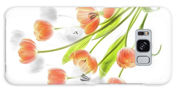 A Creative Presentation Of A Bouquet Of Tulips. Galaxy Case
