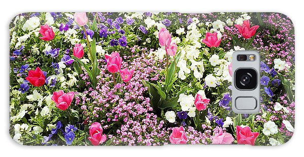 Tulips And Other Colorful Flowers In Spring Galaxy Case