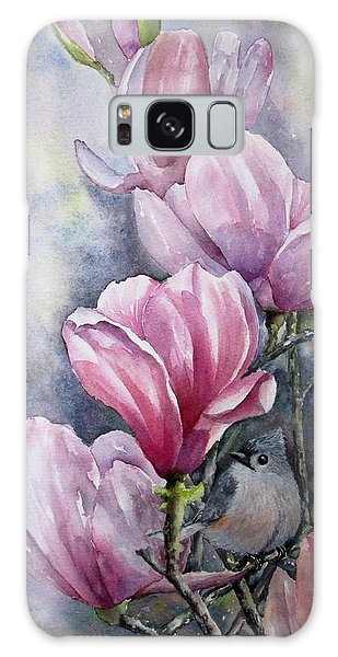 Tulips And Titmouse Galaxy Case by Mary McCullah