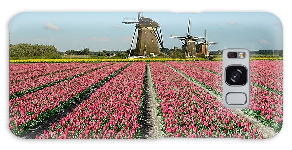 Tulips And Windmills In Holland Galaxy Case