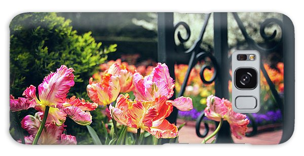 Tulips At The Garden Gate Galaxy Case by Jessica Jenney