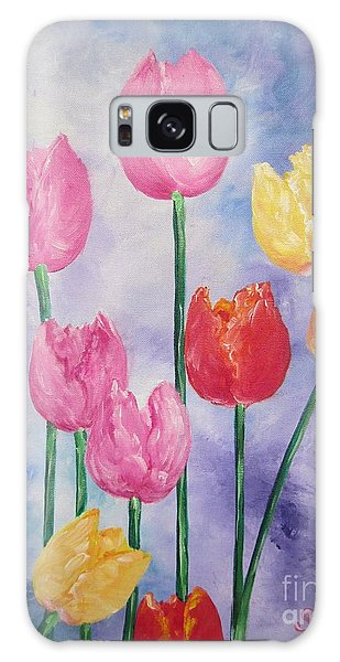 Tulips - Red-yellow-pink Galaxy Case by Sigrid Tune