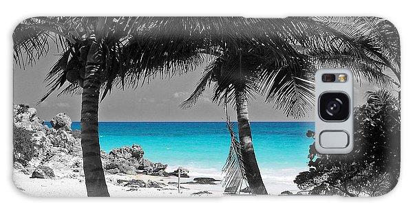 Tulum Mexico Beach Color Splash Black And White Galaxy Case by Shawn O'Brien