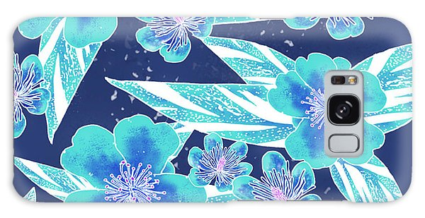 Turquoise Batik Camellias And Ginger Large Galaxy Case