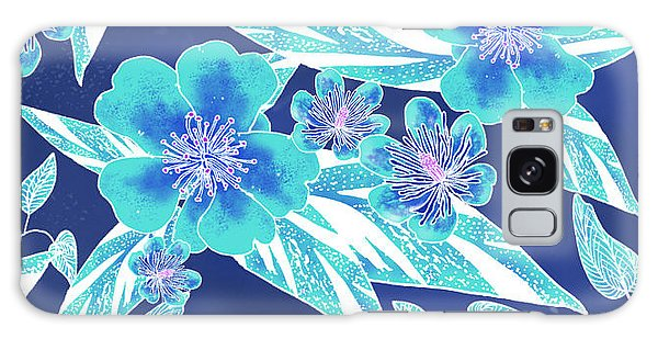 Turquoise Batik Tile 1- Camellia Galaxy Case